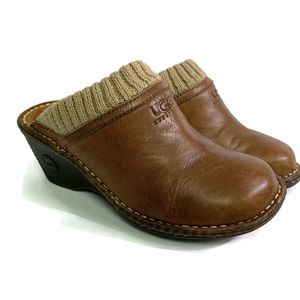 UGG CLOGS brown leather size 5